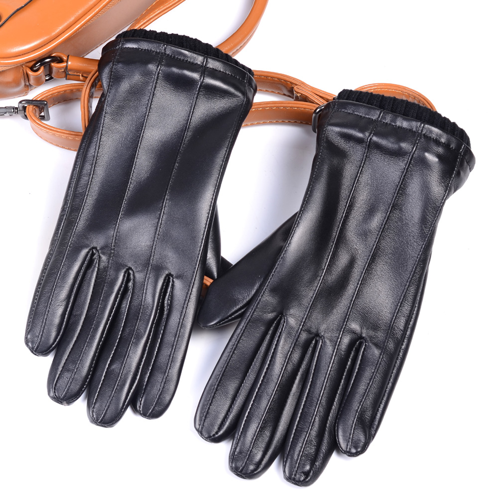 Men's GENUINE LAMBSKIN Leather Real Leather Winter Warm Motorcycle Driving gloves Touch Screen Short Gloves