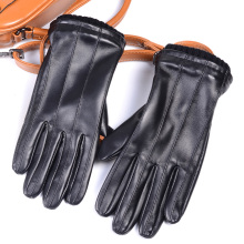 Mens GENUINE LAMBSKIN Leather Real Winter Warm Motorcycle Driving gloves Touch Screen Short Gloves