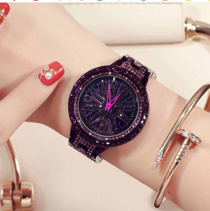 Brand Fashion Luxury Revolving Watch Rhinestone Bracelet Watch Ladies Quartz Watch Casual Women Wristwatch Relogio Feminino bs brand women luxury fashion rhinestone watches lady shining dress watch square bracelet wristwatch ladies diamond quartz watch