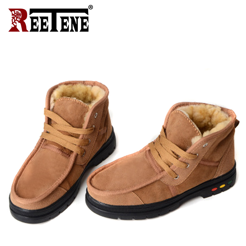 REETENE New Fashion Men'S Winter Shoes Plush Inside Antiskid Bottom Men Boots High Quality Solid Lace Up Snow Boots Men