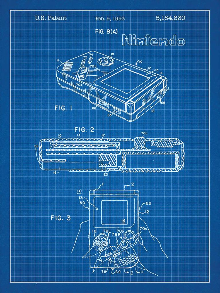 F3617 24x32 inch gameboy video game system patent art for Where to get blueprints printed