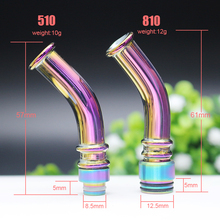 Rainbow Long Curved Glass 510/810 Drip Tip Mouthpie for e-cigarette 510&810 Thread Atomizer Vape Vaporizer