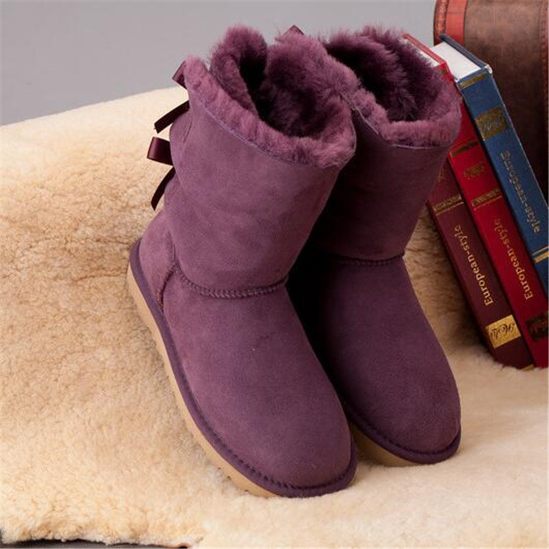 grwg 2018 Genuine Sheepskin Woman Snow Boots New Arrival 100% Natural Boots Winter Warm Shoes Winter Women's Warm Wool Boots