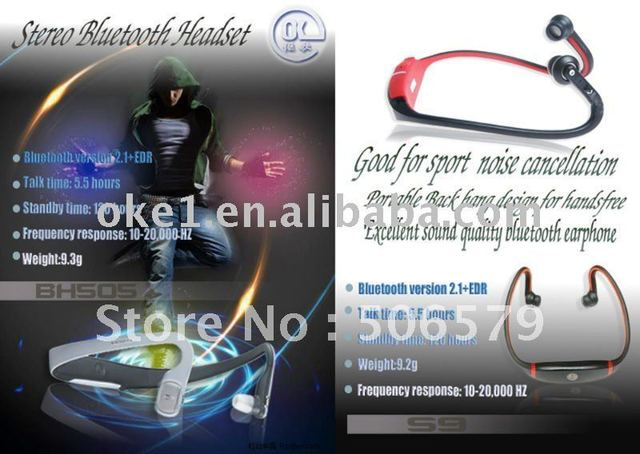 Free shipping Fashion and Sport Stereo Wireless Headset S9