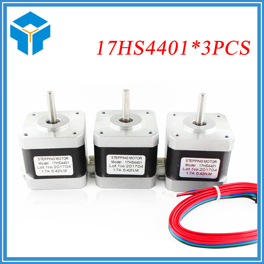 3pcs.CE certification 1pcs 4-lead Nema17 Stepper Motor 42 motor Nema 17 motor 42BYGH 1.7A (17HS4401) motor for CNC XYZ