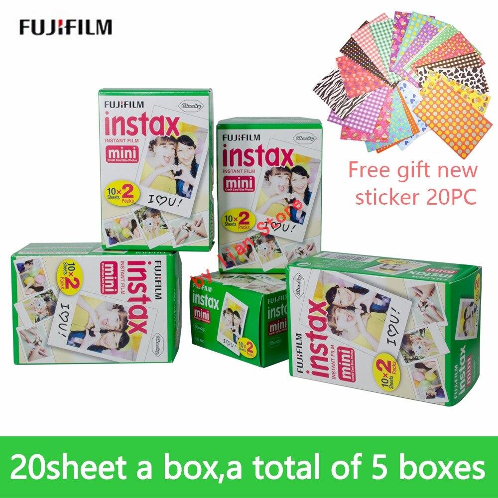 Fujifilm Instax Mini 8 blanc 3 pouces Film 100 feuilles + autocollants gratuits pour appareil Photo instantané FUJI Mini 9 7 s 25 50 s 70 90 film
