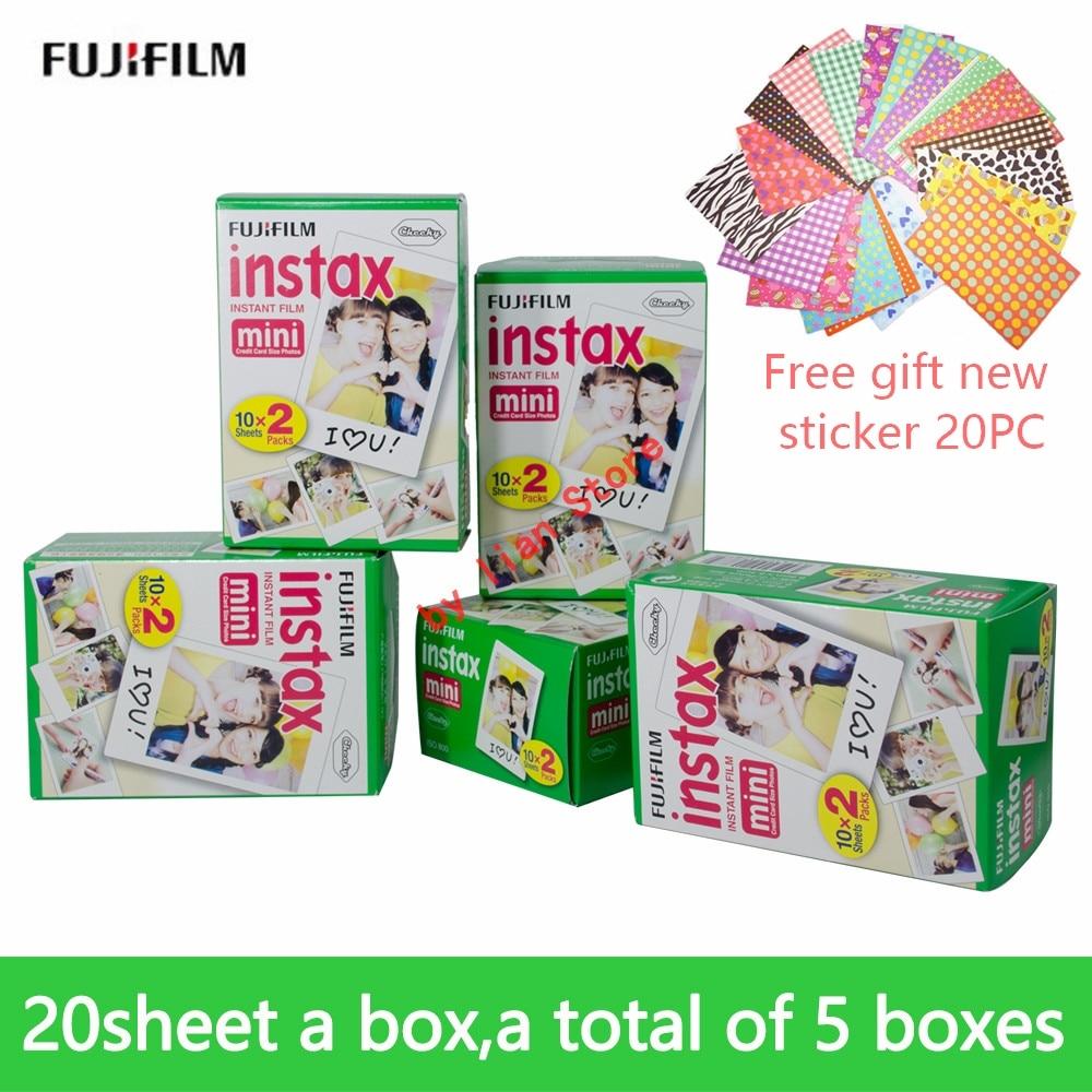 Fujifilm Instax Mini 8 Blanc 3 pouces Film 100 Feuilles + Livraison Autocollants pour FUJI Instant Photo Caméra Mini 9 7 s 25 50 s 70 90 film