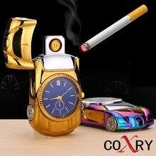 hot deal buy coxry usb charging flameless lighter gold car model men watches 2018 luxury brand men's watches quartz toys collection clock men