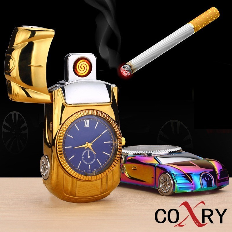COXRY USB Charging Flameless Lighter Gold Car Model Men Watches 2018 Luxury Brand Mens Watches Quartz Toys Collection Clock Men