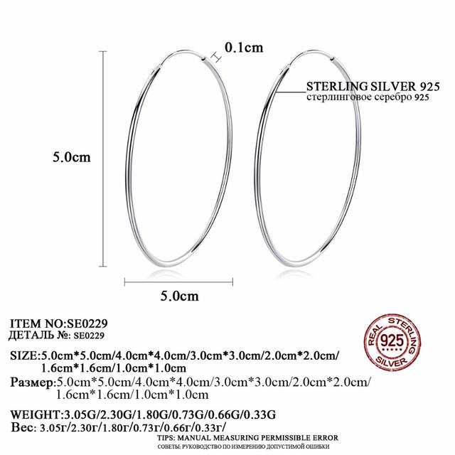 CZCITY Popular 10-50mm Huggie Hoop Earrings for Women 925 Sterling Silver Classic Minimalistic Circle Earring Fine Jewelry