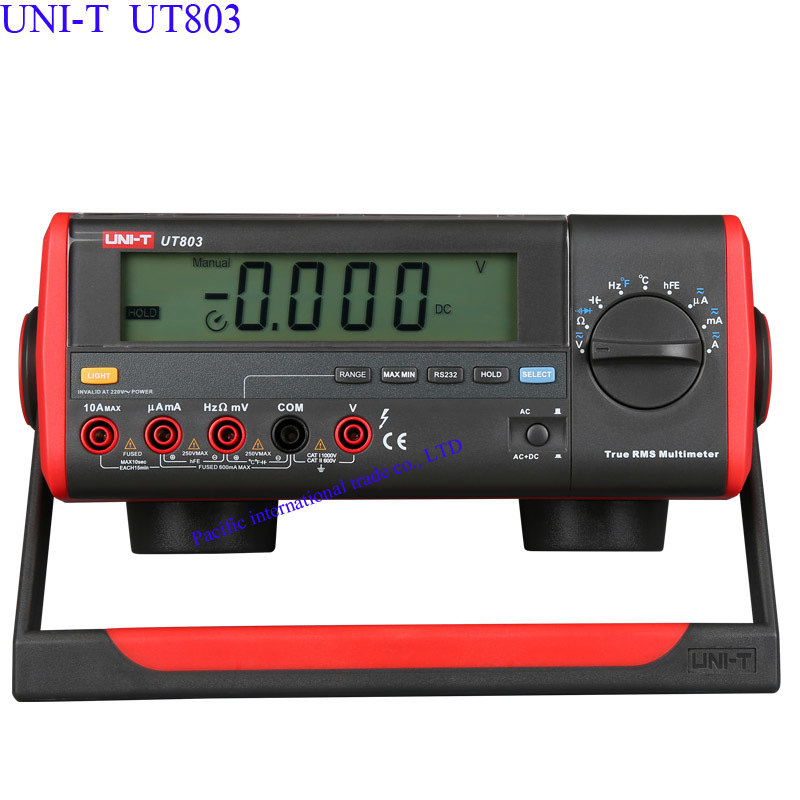 True RMS Bench Type Digital Multimeter UT803  With RS232C USB Interface, LCD Backlight Display, Data Hold,Ammeter Multitester lcd digital compact pen type multimeter dmm lcd backlight display with english manual