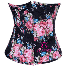 Flowers Print Black Denim Lace Up Underbust Corsets Cheap Short Bustier Waist Cincher Corset Corsettes For