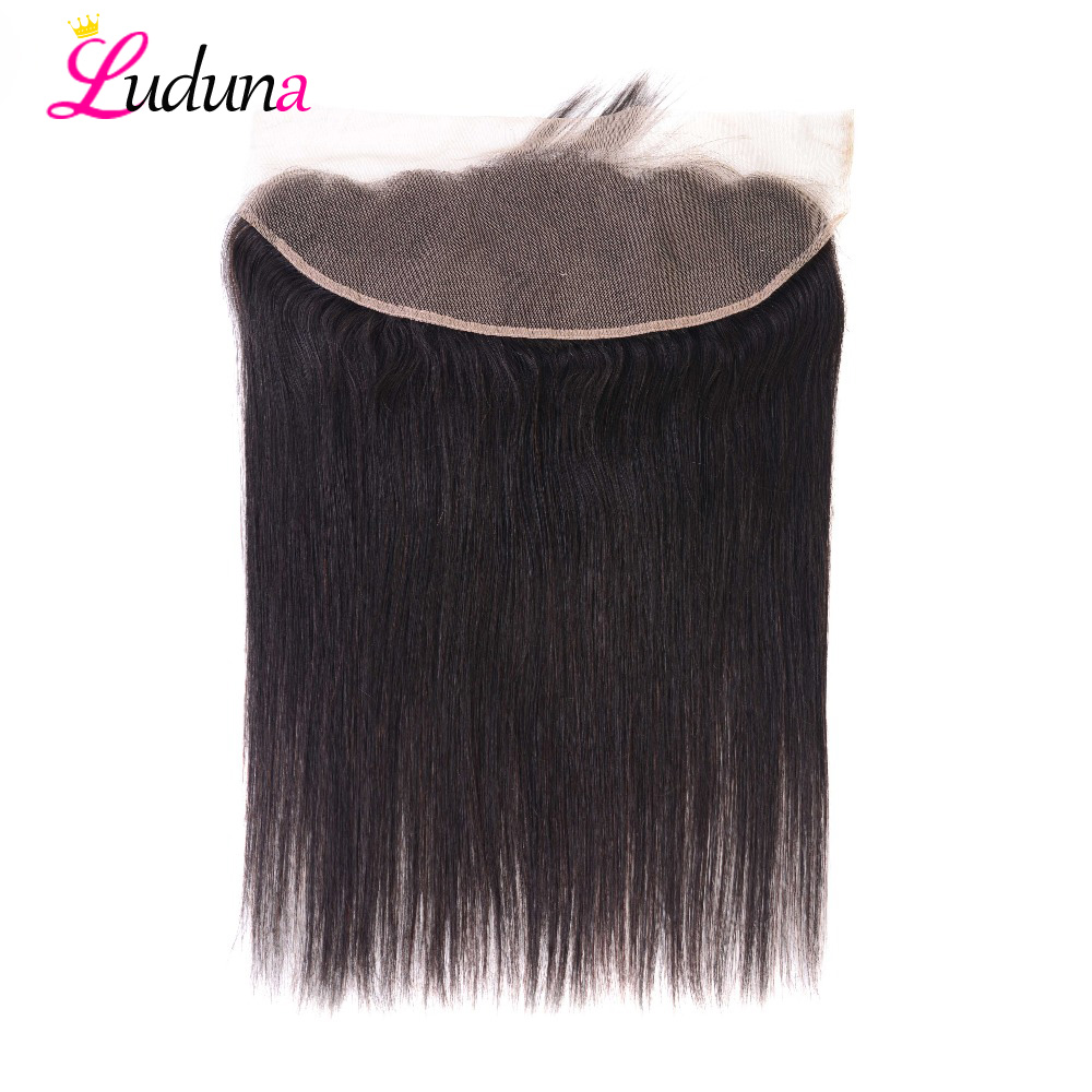 Luduna Peruvian Straight Frontal Swiss Lace Frontal Closure 13x4 Ear To Ear With Baby Hair 100