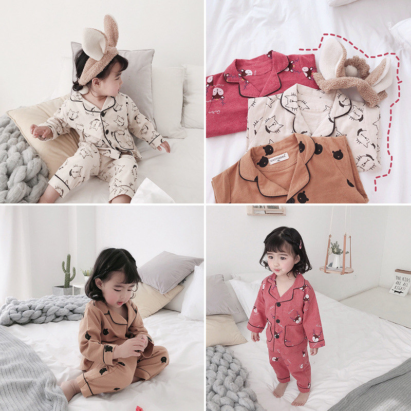 Pyjama-garnituren Hose 2 Pcs Baumwolle Baby Jungen Mädchen Nachtwäsche Weiche Unisex Kinder Liefern Celveroso Kinder Frühling Kleidung Pyjamas Sets Langarm Tops