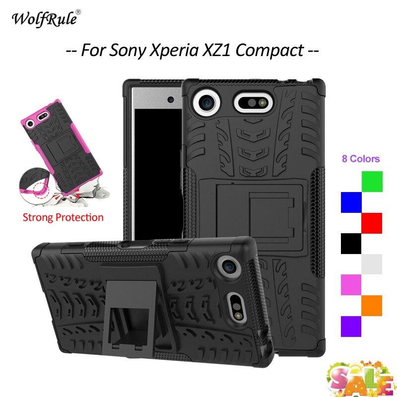 Para Cobrir Sony Xperia Caso Compacto XZ1 Suporte Armadura TPU & PC Bumper Caso de Telefone de Proteção Para Sony Xperia XZ1 compacto Da Tampa 4.6''