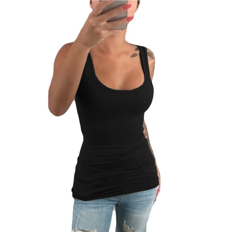 Women Ladies Summer Casual Solid Elastic Cotton U Neck   Tank   Sleeveless Slim Vest   Tops   S-5XL