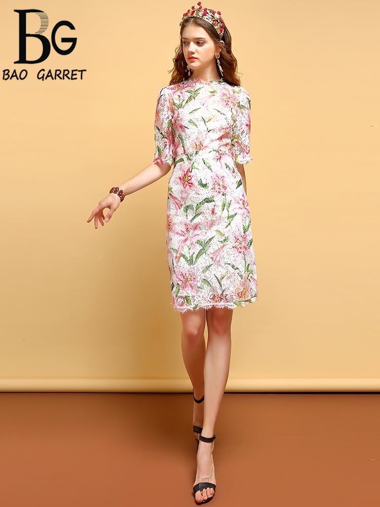 Baogarret Fashion Runway Summer Lace Dress Women 39 s Half Sleeve Gorgeous Floral Print Sequin Midi Slim Pencil Elegant Dress in Dresses from Women 39 s Clothing
