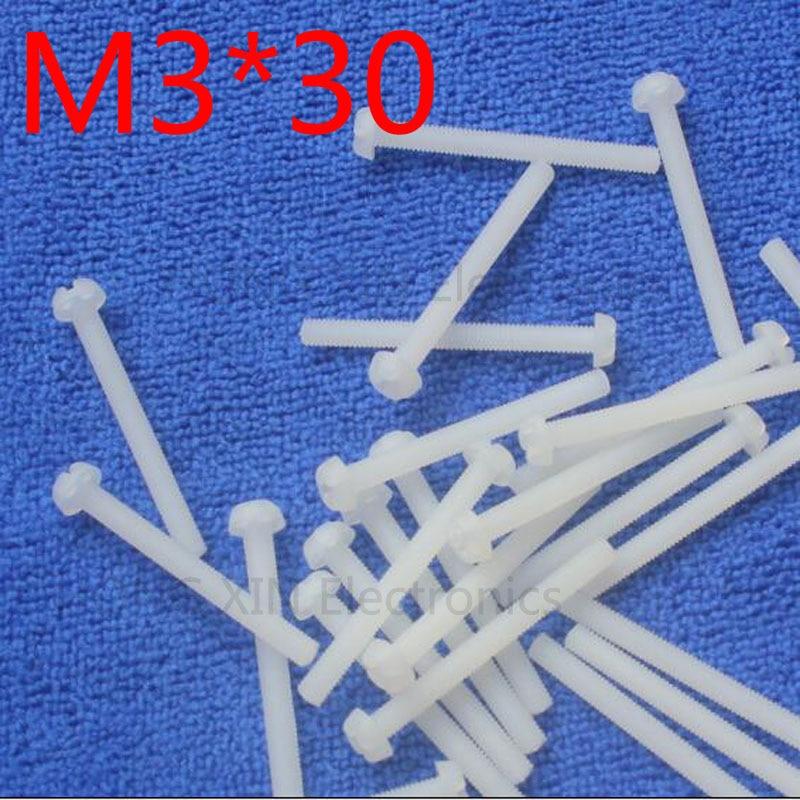 M3*30 30mm 1 pcs white Round Head nylon Screw plastic screw Insulation Screw brand new RoHS compliant PC/board DIY hobby etc boegli m 30