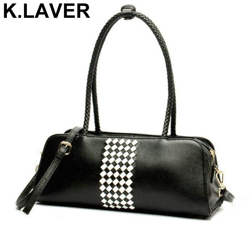 K.LAVER New Kintting Bags 100% Genuine Leather Bags Women Cowhide Leather Handbag Ladies Shoulder Crossbody Bag Famous Brand