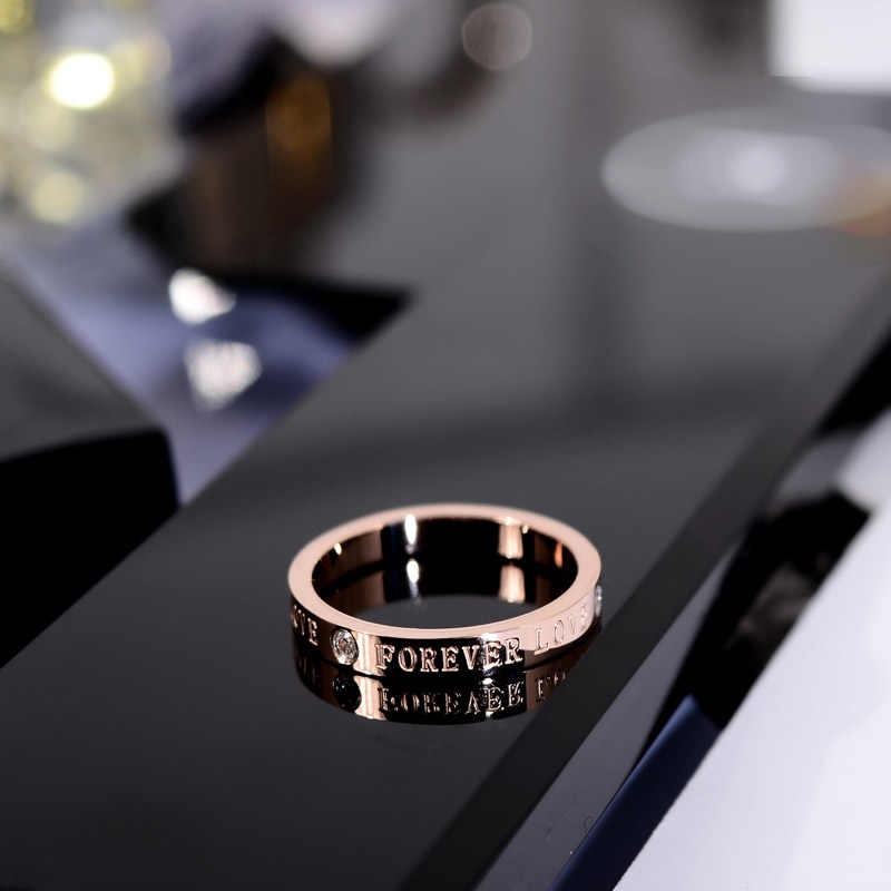 YUN RUO 2018 Love Forever Couple Rings Rose Gold Silver Color Fashion Titanium Steel Jewelry Wedding Ring Birthday Gift Woman