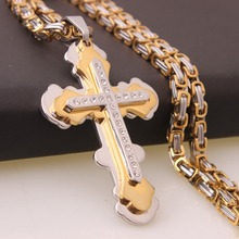Hot Sale Stainless Steel Silver Gold Vintage Christian Crystal Cross Pendant 5mm Byzantine Chain Necklace Men's Women's Jewelry