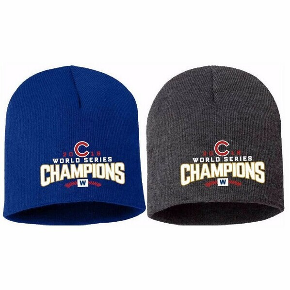 Chicago Cubs 2016 World Series campeones knit Beanie sombrero con bordado  logo unisex caliente d33ed6659fe