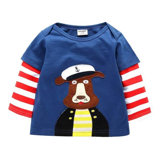 2017 Primavera/Outono de 100% Do Bebê Do Algodão Das Meninas Dos Meninos T Shirt 1-6 T Crianças Animal Dos Desenhos Animados Manga Longa T-Shirt Crianças Pullovers Tee