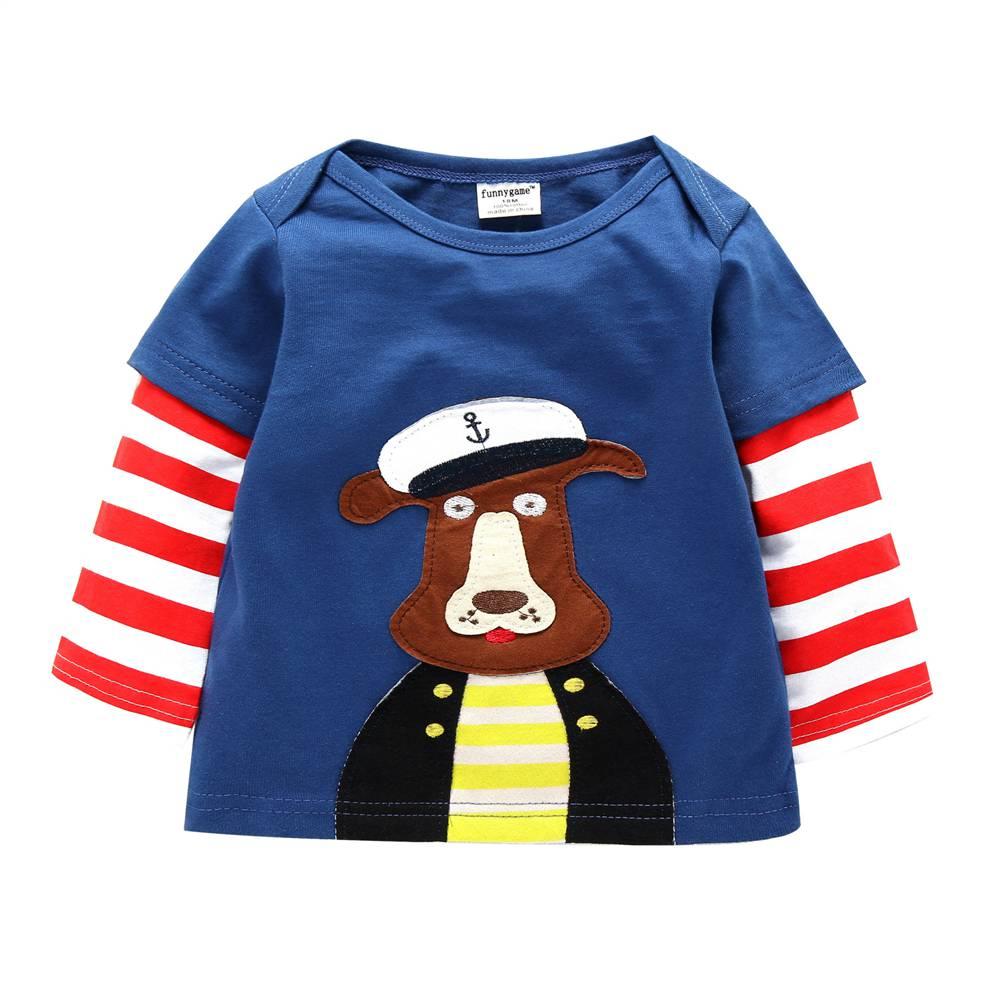 2017 Spring/Autumn 100% Cotton Baby Boys Girls T Shirt 1-6T Kids Cartoon Animal Long Sleeve T-Shirt Children Pullovers Tee