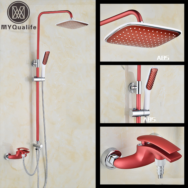 Luxury Red Shower Faucet Set Height Adjustable Bath Shower Kit with ...