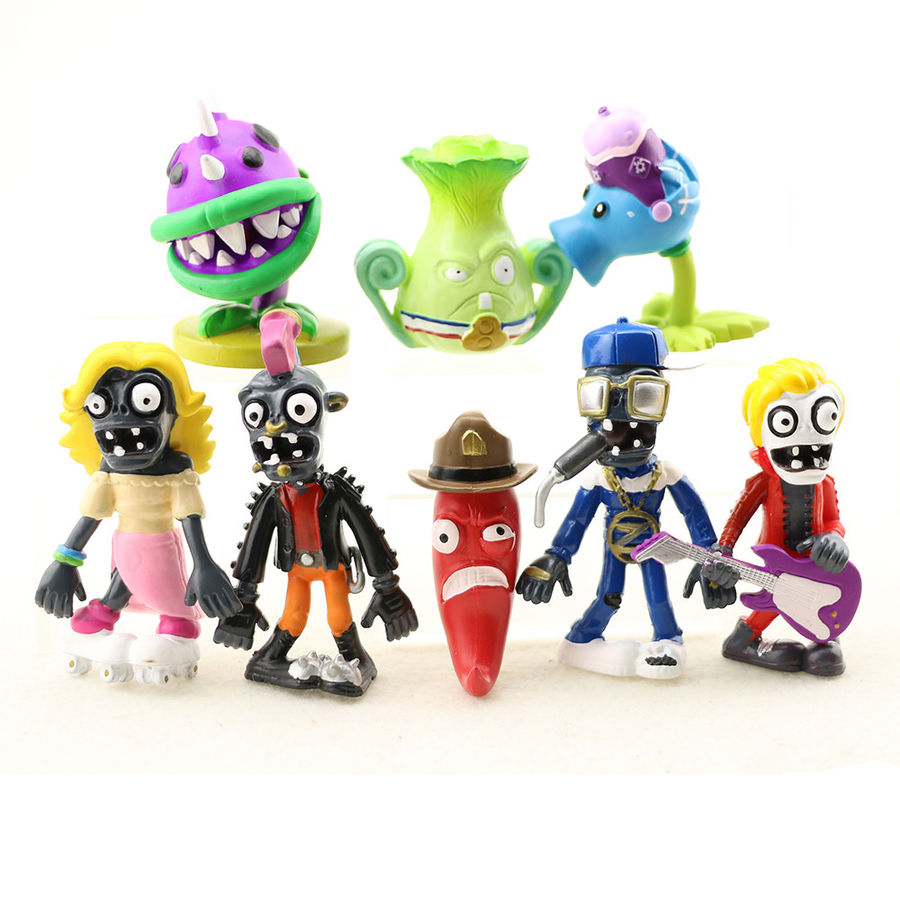 8 PCS Action Figure Doll Gift Snow Pea Chomper Jalapeno Toys Pvc Collections Christmas Model For Plants Vs. Zombies