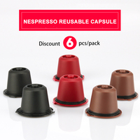 6pcs Pack Refillable Reusable Coffee Capsule For Nespresso Machine Coffee Filter Compatible Nespresso Manxhine Basket 3