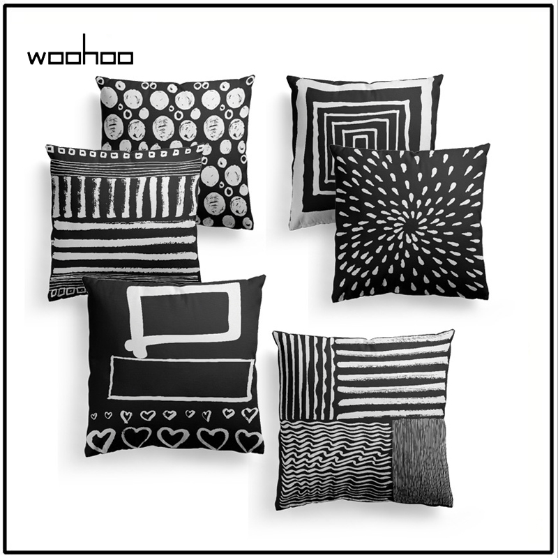 Contemporary Sofa Geometric Pillows: Black And White Color Trend Of Scandinavian Minimalist