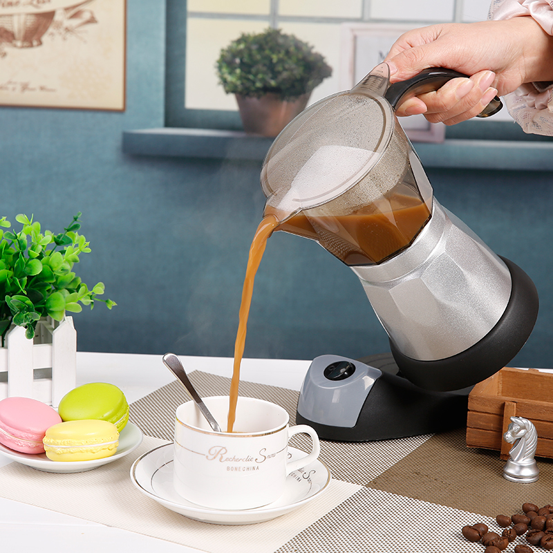 Electric Mocha Pot Espresso Coffee Pot Home Office Electric Heating Aluminum Mocha Coffee Equipment for 6 People