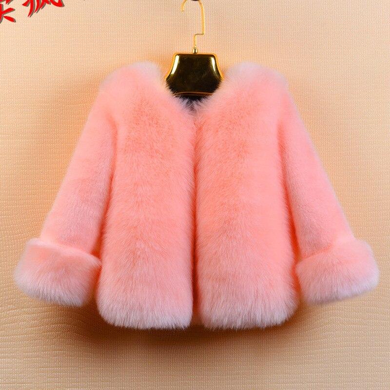 Autumn Winter Children Girls Faux Fur Coat Full Length Warm Baby Fur Jacket Kids Outerwear Coats TZ14