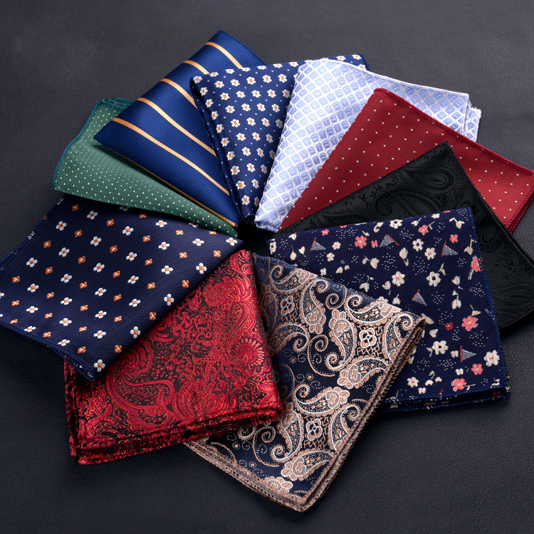 New Fashion Polyester Hanky Business Pocket Square Chest Towel Men's Handkerchief Polka Dot Striped Floral Printed Hankies 23*23