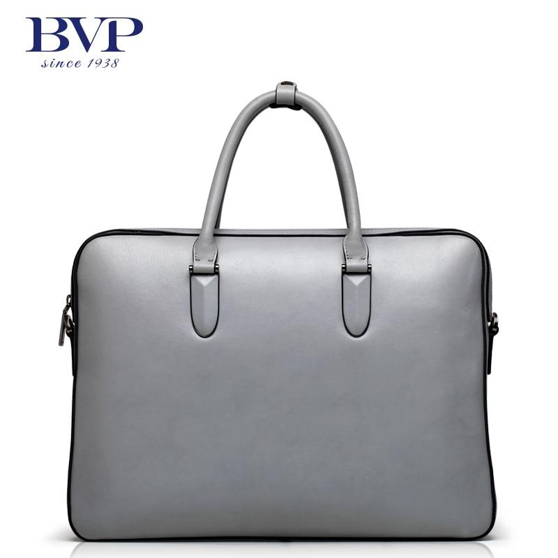 BVP - Super Fashion High-end Elegant Grey Business Designer Genuine Leather Men's Leather Bags Maletin Hombre Men Brifecase J35 bvp high end 100