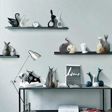 Nordic Ceramic Deer Rabbit Figurines Home Decoration Crafts Livingroom Desktop Animal Ornaments Modern Wedding Gift G $