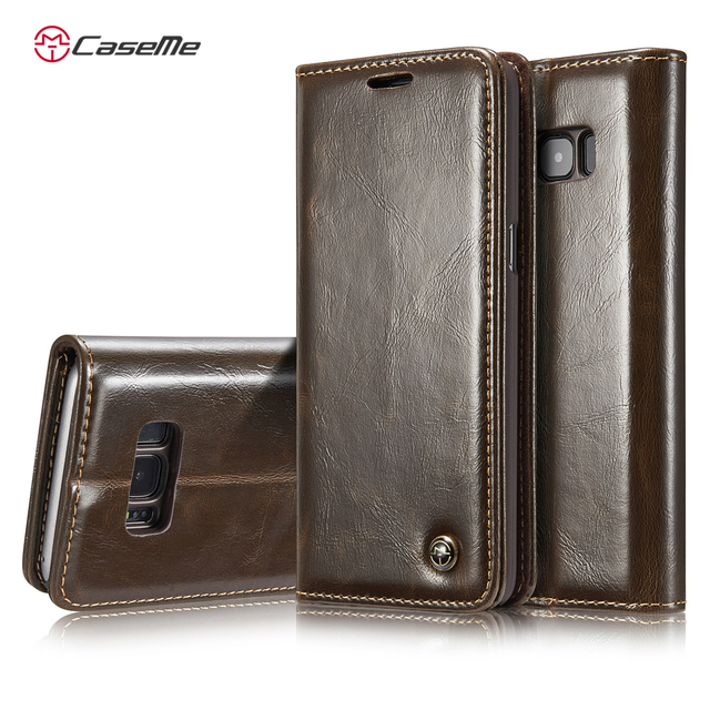 CaseMe For Samsung Galaxy S8 S8 Plus Luxury Retro Leather Stand Flip Phone Case Card Slot Wallet Cover Back Case