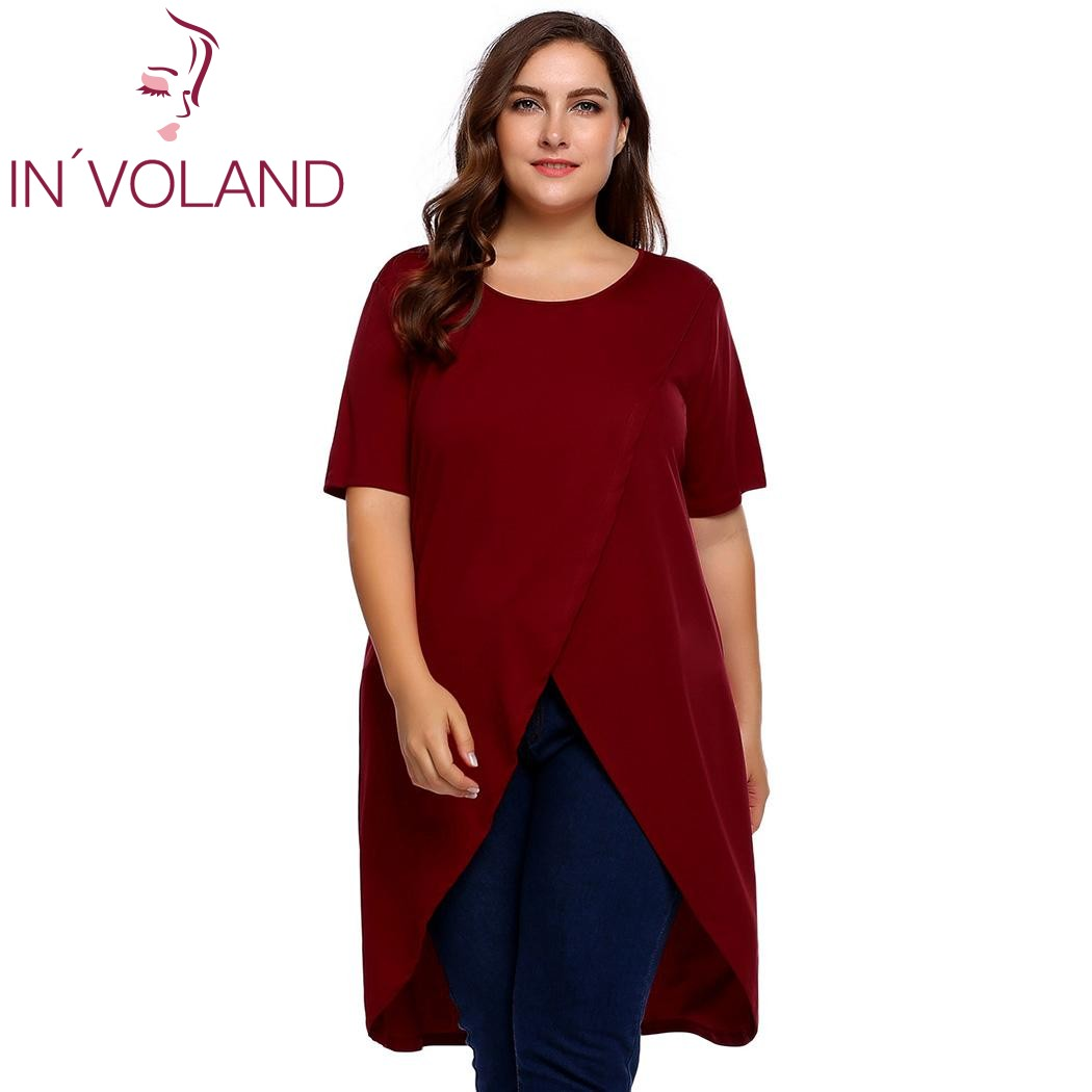IN'VOLAND Plus Size Women Long T-Shirts Tops M-3XL Spring Summer O-Neck Short Sleeve Solid Loose Hem Tshirt Pullover Oversized