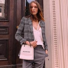 2019 Vintage Tone Classic Tweed Woolen Mixed Suit Jacket Woman Clothes  Notched Plaid Women