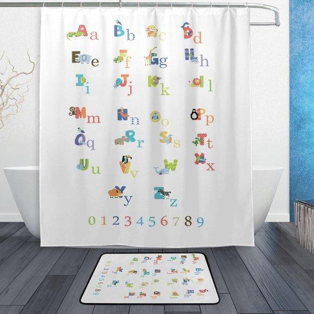 ABC Alphabet Education Shower Curtain And Mat Set Kids Educational Waterproof Fabric Bathroom
