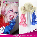 Cheap Peluca Suicide Squad Batman Harley Quinn Wig Cosplay And Costume Ponytail Wig Omber Blonde And Blue Short Curly Wig