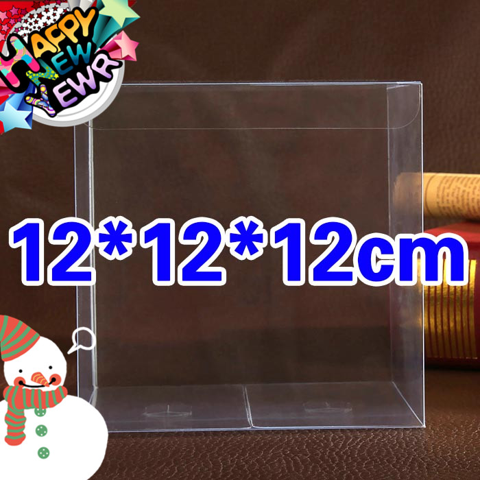 12PCS 12*12*12cm Transparent waterproof Clear PVC boxes Packaging small plastic box storage for food/jewelry/Candy/Gift/cosmetic