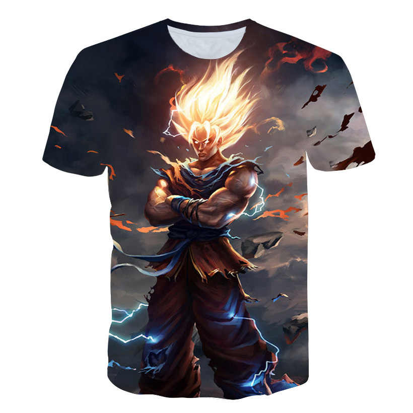 Dragon Ball Z Супер Саян Гоку Вегета Печатный короткий рукав футболка костюм летняя мода повседневные футболки большие размеры