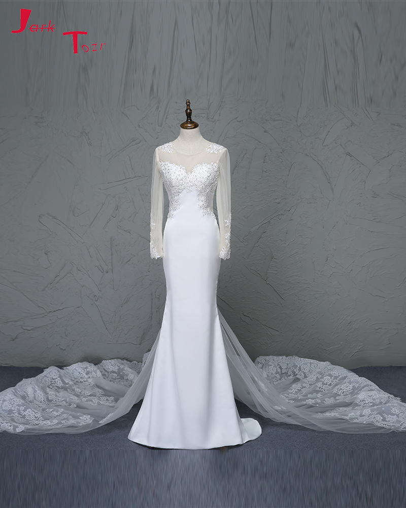 Sheath Wedding Dresses 2019: Jark Tozr Abiti Da Sposa Long Sleeve Beading Appliques