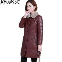 AYUNSUE 2018 Genuine Leather Women's Down Jacket Real Sheepskin Coats With Natural Mink Fur Collar Warm Winter Coat Women YQ1626