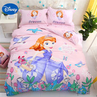 DISNEY princess girl bedding set 3d 100% cotton fabric bed sheet set sofia printed baby duvet cover single size bed cover queen