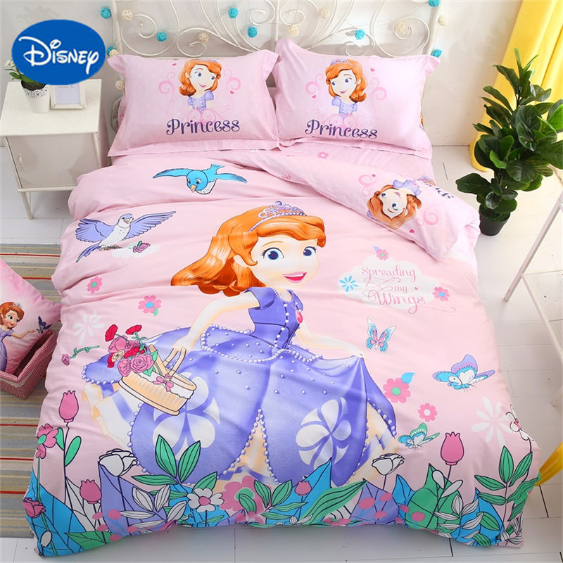 DISNEY princesse fille ensemble de literie 3d 100% coton tissu drap de lit ensemble sofia imprimé bébé housse de couette taille unique lit couverture reine