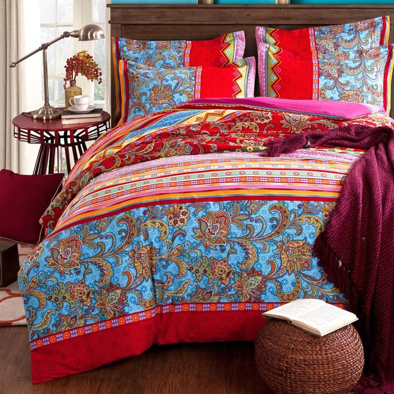 wholesale Bohemia Bedding set 100% cotton Heavy Brushed duvet cover+flat sheet+Pillowcase queen king bed linens 4pcs bedclothes