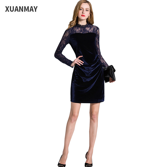 Womens Summer dresses 2017 Velvet fabric Black Velvet dress Cheap clothes  china Navy blue Vintage Long sleeve dress 8eafedbff